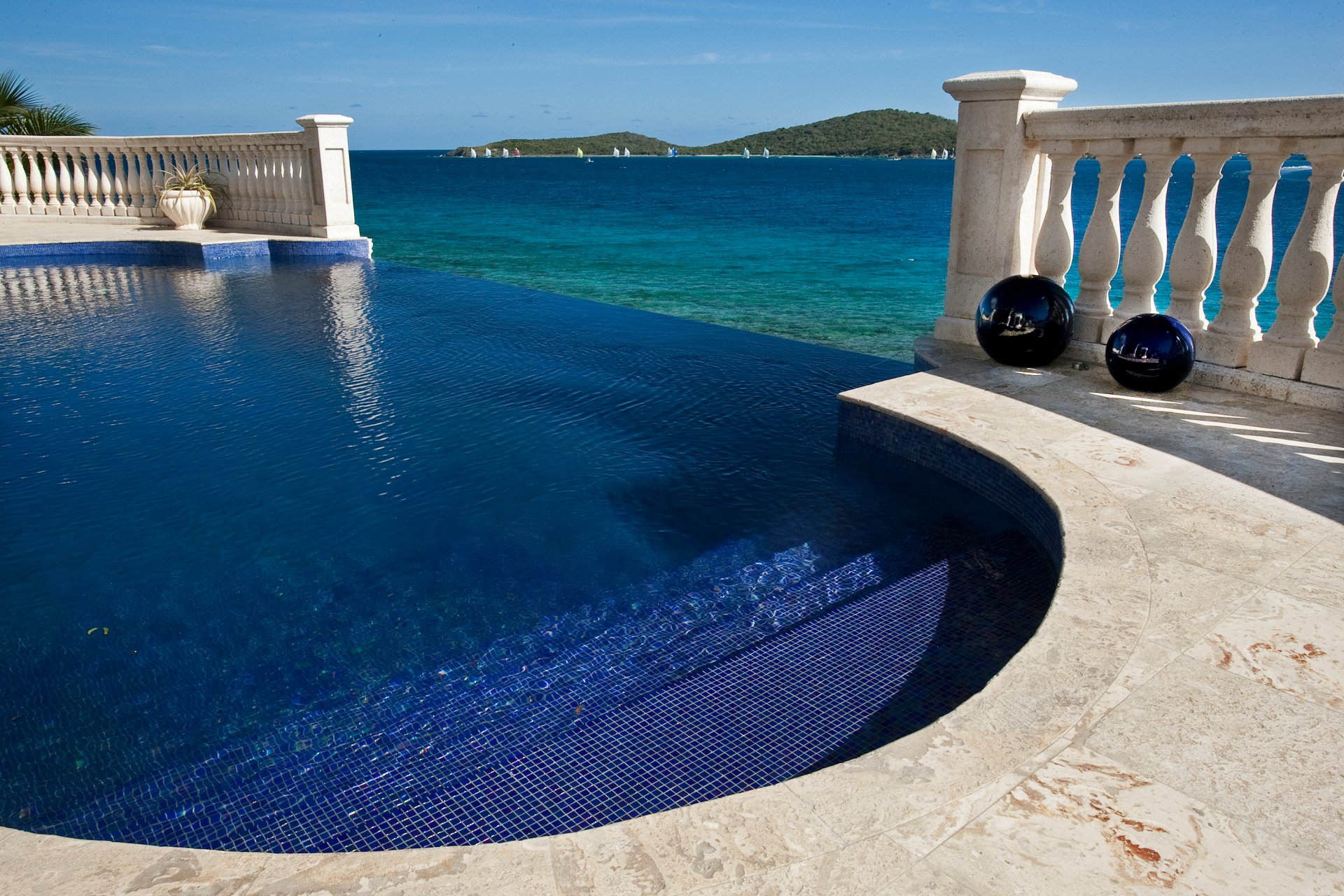Blue Tiled Infinity Edge Pool